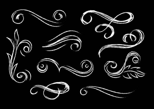 Set of chalkboard style flourish elements. Modern chalk effect flourish elements for invitations, wedding, birthday isolated on black background. Vector illustration. flourish art stock illustrations
