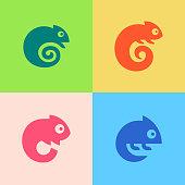Set of Chameleon Logo. Icon design. Template elements