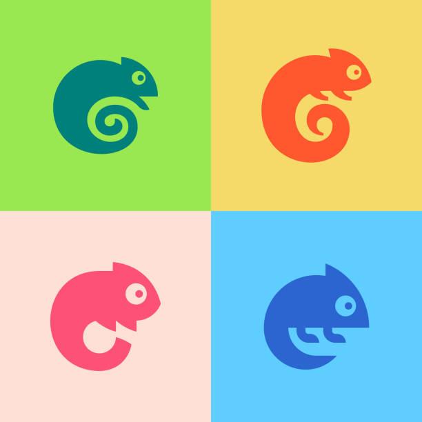set of chameleon logo - chameleon stock illustrations