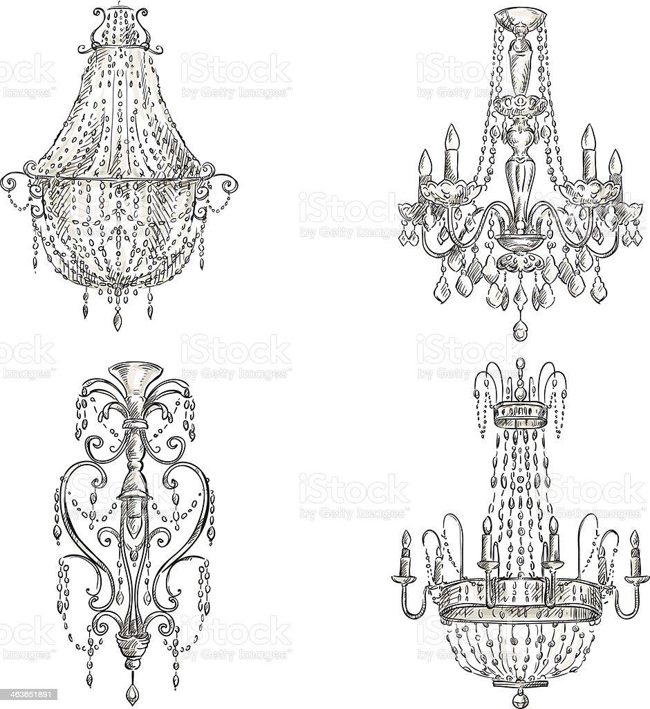 set of chandelier drawings vector art illustration