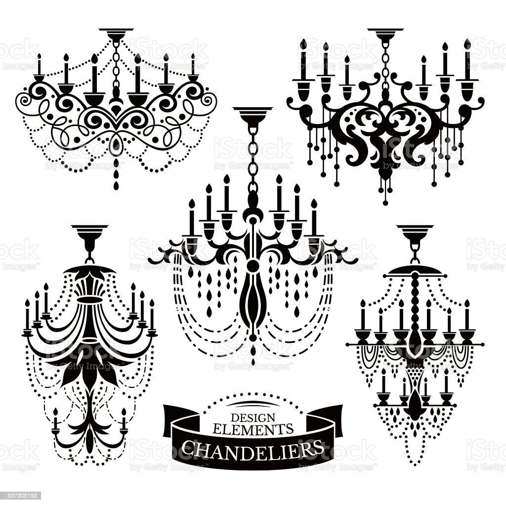 Set of chandelier silhouettes vector art illustration