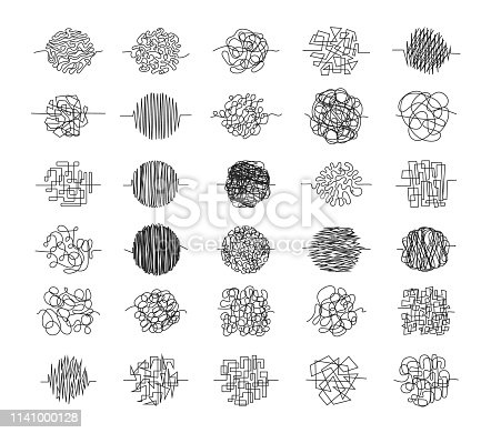 Set of chaos clews Hand drawn tangled clews, scribble lines or doodle scribbles symbols. Vector illustration. Isolated on a white background.
