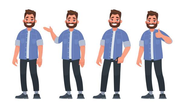 zestaw charakteru przystojny brodaty mężczyzna w swobodnych ubraniach w różnych pozach - mężczyźni stock illustrations