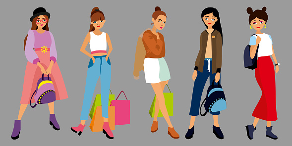 Set of character fashion style young girls, women different clothes, lifestyle, with bag, shoping package, backpack. Students girl in dress, pants, skirt, jacket, blouse, hat. Front view flat vector illustration
