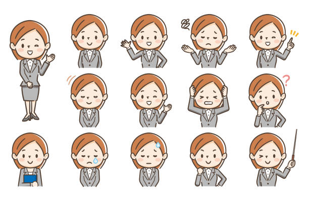 Set of character in 13 different poses of young woman Set of character in 13 different poses of young woman only japanese illustrations stock illustrations