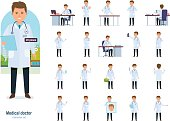 Set of character medical doctor. Healthcare and medical help. Doctor works, first aid, conducts research and advice, prescribes treatment, reads results. Illustration people front and rear view.