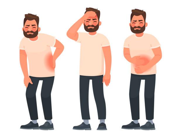 bildbanksillustrationer, clip art samt tecknat material och ikoner med uppsättning av karaktär män med smärta i olika delar av kroppen. ryggvärk, buk smärtor, huvudvärk, migrän - sjukdom