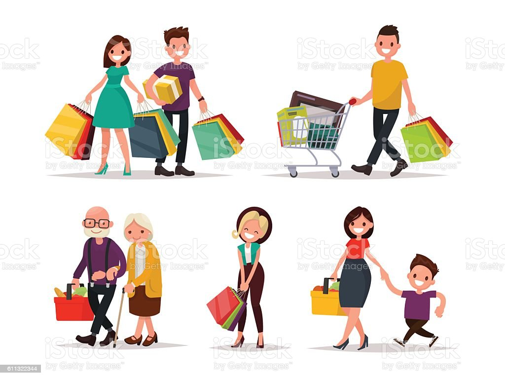 Set of characters and people shopping. Vector illustration of a - Grafika wektorowa royalty-free (Biznes finanse i przemysł)
