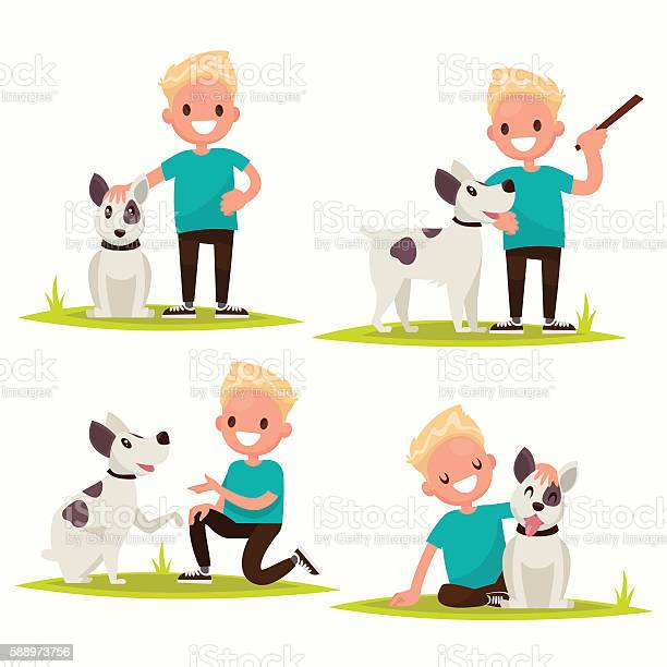 Set of characters boy with his beloved dog vector illustration vector id588973756?b=1&k=6&m=588973756&s=612x612&h=vgt7bi dogitljyvsna7yo95szqrqo2qwfikmtmeswe=