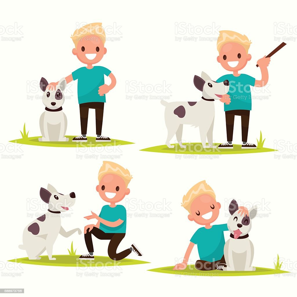 Set of characters. Boy with his beloved dog. Vector illustration vector art illustration