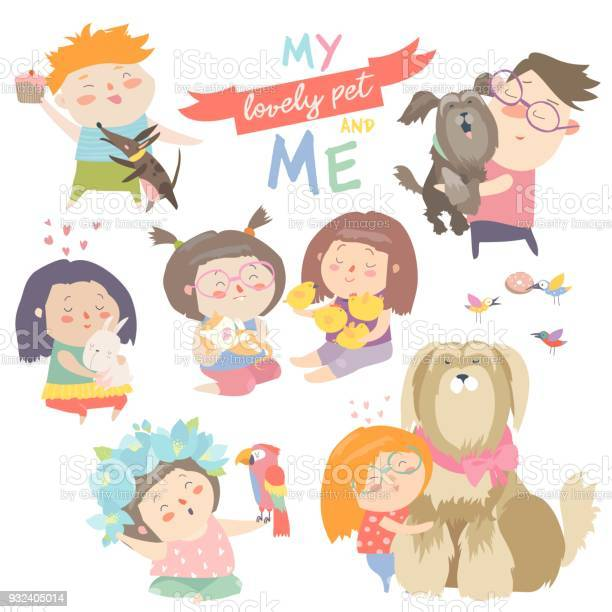 Set of characters children with pets vector id932405014?b=1&k=6&m=932405014&s=612x612&h=d53st9qazzi oslmzy7mdd 1v4s8xzde05hrmpdsg30=