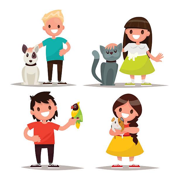 illustrazioni stock, clip art, cartoni animati e icone di tendenza di set of characters. children with pets. vector illustration - bambino cane