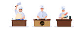 Set of characters cooking chefs. Making sushi, steak, fish. Vector illustration