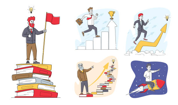 Set of Characters Developing Mind Issues, Self Development or Education. Business People Climb on Chart and Books Ladder Set of Characters Developing Mind Issues, Self Development or Education Concept. Business People Climbing on Column Chart and Books Ladder, Flying by Rocket in Space. Linear People Vector Illustration energy efficient lightbulb stock illustrations