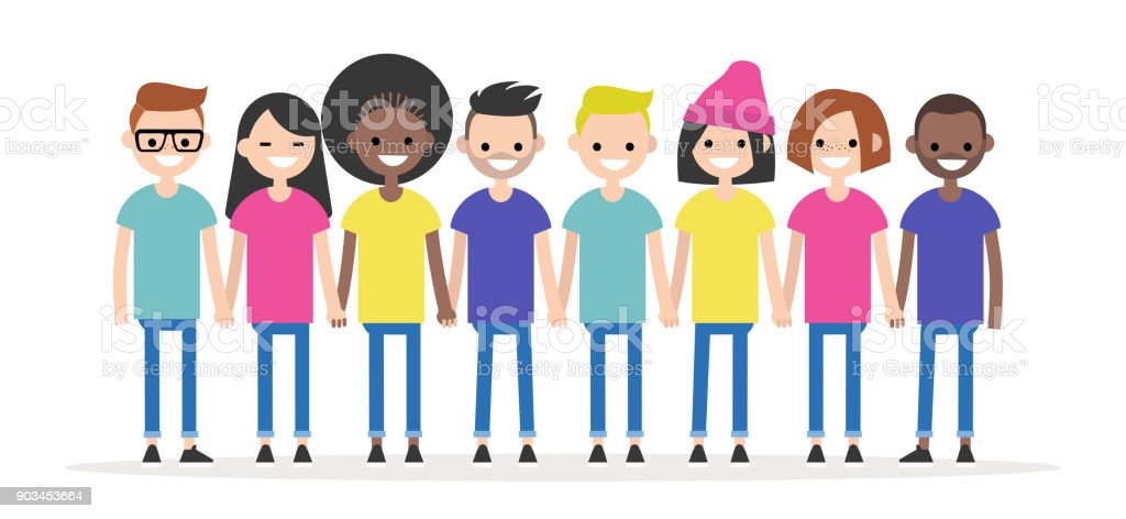 Set Of Characters Holding Each Others Hands Diversity