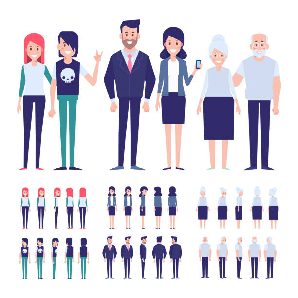 ilustraciones, imágenes clip art, dibujos animados e iconos de stock de conjunto de caracteres en un estilo plano. personajes hombres y mujeres, el ciclo de vida, creciendo. familia junta. - abuelo