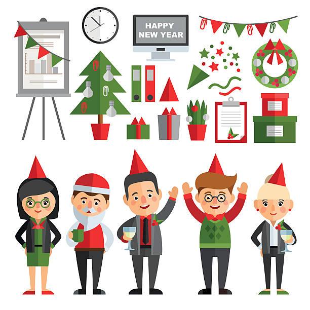 satz von zeichen in flache-stil. - firmenweihnachtsfeier stock-grafiken, -clipart, -cartoons und -symbole