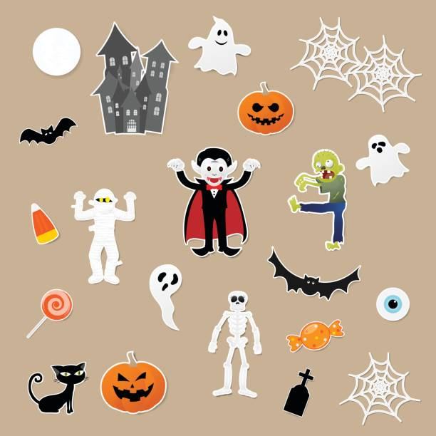 Set of characters in cartoon style with pumpkin, dracula, skeleton, mummy, zombie, black cat, bat, castle, ghost and elements of halloween festival on paper background. Vector illustration. Set of characters in cartoon style with pumpkin, dracula, skeleton, mummy, zombie, black cat, bat, castle, ghost and elements of halloween festival on paper background. Vector illustration. invitational stock illustrations