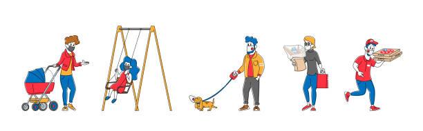 stockillustraties, clipart, cartoons en iconen met set van personages in beschermende maskers wandelen met kinderen en huisdieren, food delivery service. fijnstof, luchtvervuiling - baby dirty