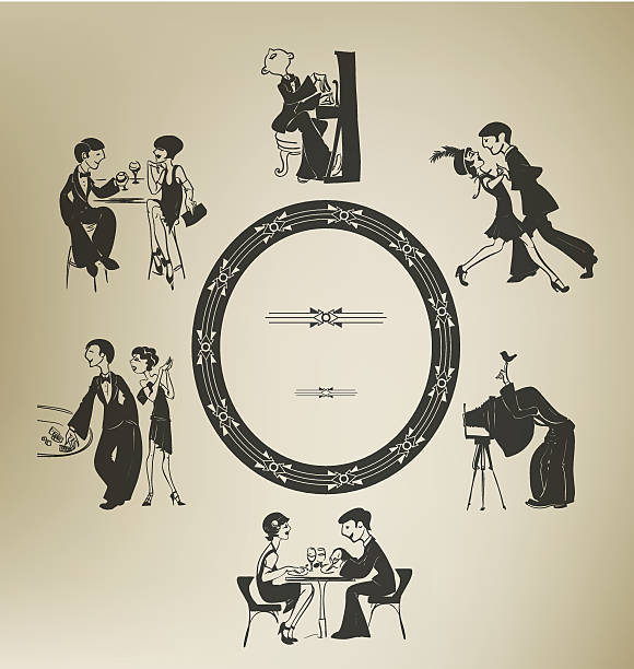 set of characters in vintage party activities. retro stylized. - 1920s style stock illustrations, clip art, cartoons, & icons