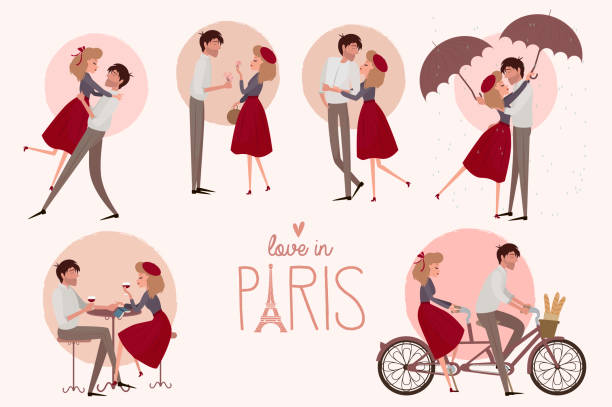set of characters. love story in paris with a lover couple in different poses - couple stock illustrations