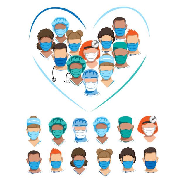 ilustrações, clipart, desenhos animados e ícones de conjunto de personagens de médicos em máscaras médicas - enfermeira