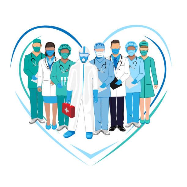 ilustrações, clipart, desenhos animados e ícones de conjunto de personagens de médicos de macacão - enfermeira