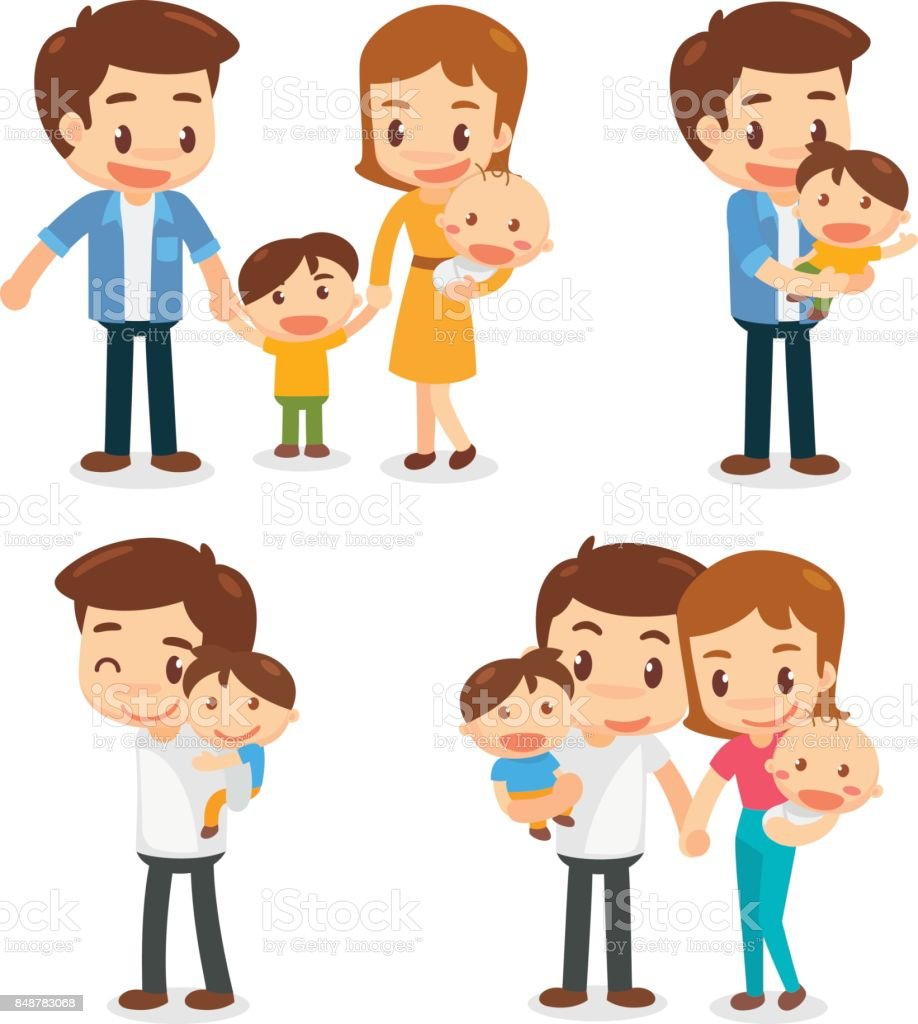 Set of characters of the family. Father, Mother, Son and Daughter. Holding hands. vector art illustration