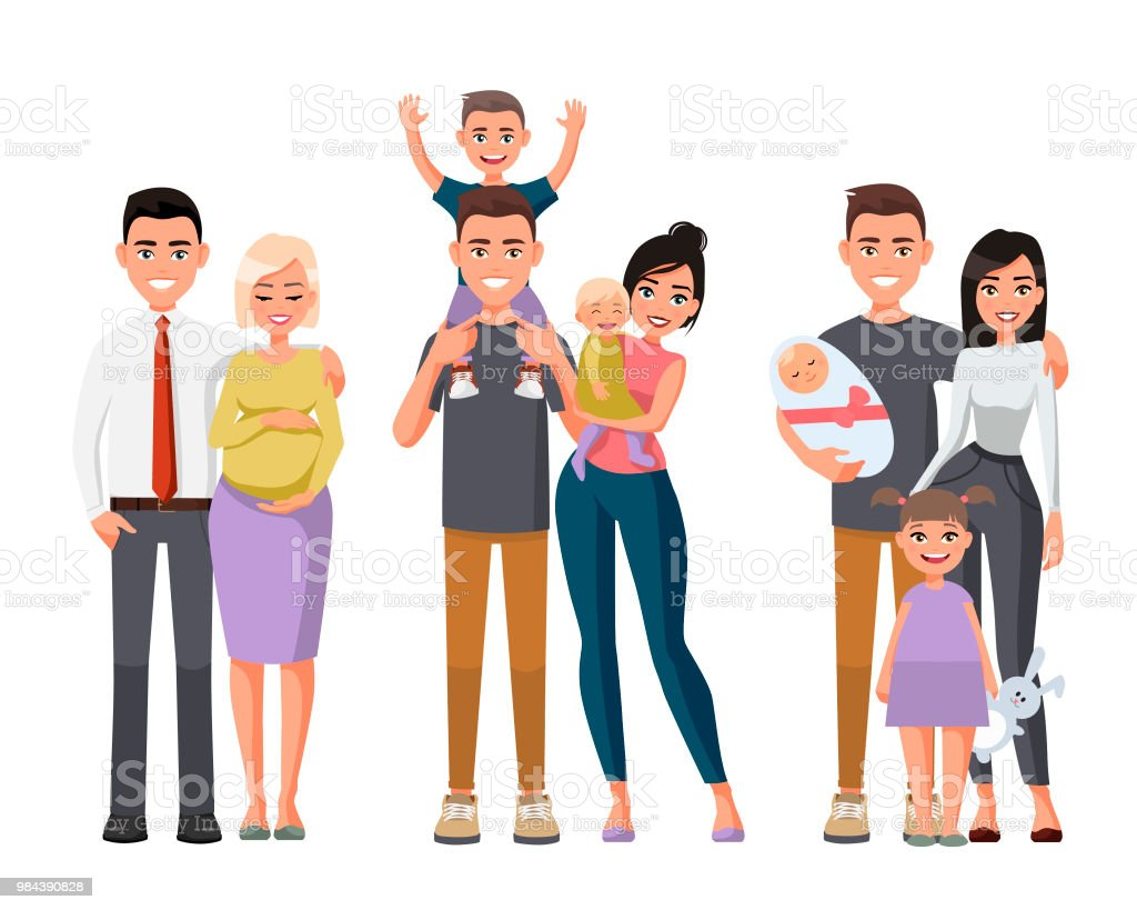 Set of characters showing the stages of development of the family.Mother, father, daughter,son.Vector illustration in a flat style. Happy young family.Man with a child on his shoulders. Pregnant woman vector art illustration