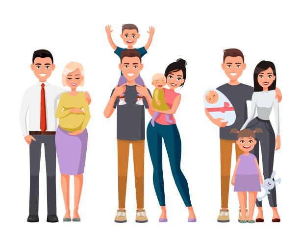 ilustraciones, imágenes clip art, dibujos animados e iconos de stock de conjunto de caracteres que muestran las etapas de desarrollo de la familia. madre, padre, hija, hijo. ilustración de vector de estilo plano. familia joven feliz. hombre con un niño sobre sus hombros. mujer embarazada - hermano