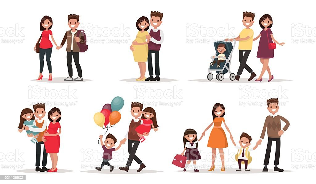 Set of characters showing the stages of development vector art illustration