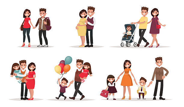 Set of characters showing the stages of development Set of characters showing the stages of development of the family. Creation, birth of children,  care and upbringing. Mother, father, daughter and son. Vector illustration in a flat style parenting stock illustrations