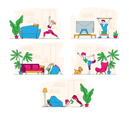 Set of Characters Stretching at Home, Yoga and Sport Activity, Sports Exercises, Fitness Workout with Equipment