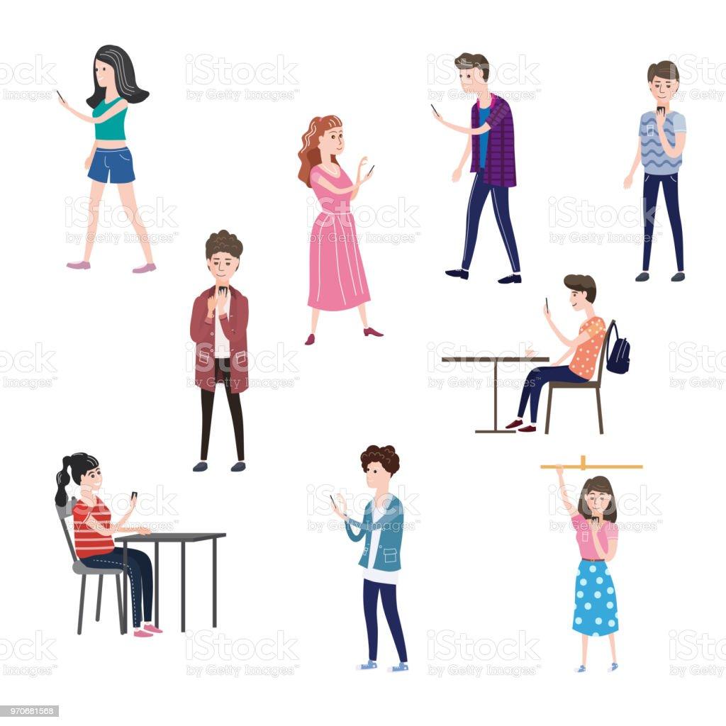 Ilustración De Conjunto De Caracteres Adolescentes Hombres Y Mujeres