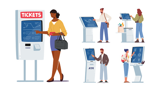 Set of Characters Use Self Ordering Service. Men and Women Using Info Kiosk, Order Food in restaurant, Withdraw Money via ATM and Buying Tickets with Digital Device. Cartoon People Vector Illustration