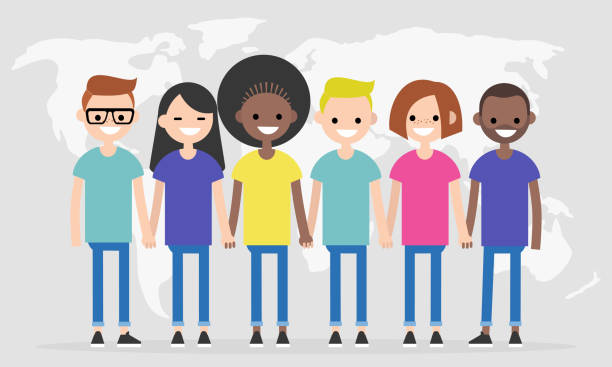 illustrazioni stock, clip art, cartoni animati e icone di tendenza di set of characters wearing colorful t-shirts. diversity conceptual illustration. multiracial group of young people. flat editable characters, clip art - gen z