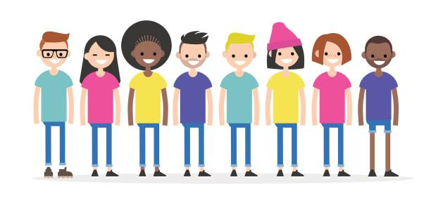 illustrazioni stock, clip art, cartoni animati e icone di tendenza di set of characters wearing colourful t-shirts. diversity conceptual illustration. multiracial group of young people. flat editable characters, clip art - gen z