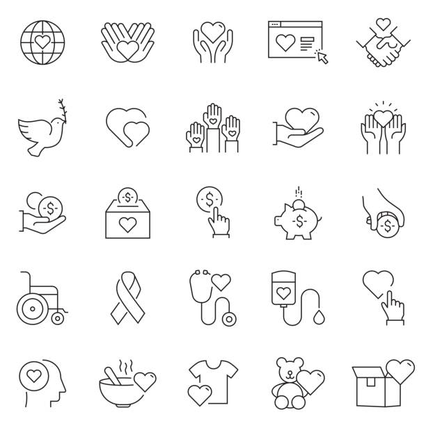 Set of Charity and Donation Related Line Icons. Editable Stroke. Simple Outline Icons. Set of Charity and Donation Related Line Icons. Editable Stroke. Simple Outline Icons. food bank stock illustrations