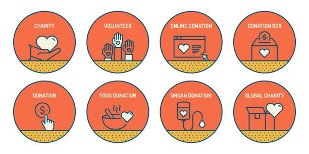 ilustrações, clipart, desenhos animados e ícones de conjunto de ícones de linha relacionadas a caridade e doação. ícones de contorno simples. - charity and relief work
