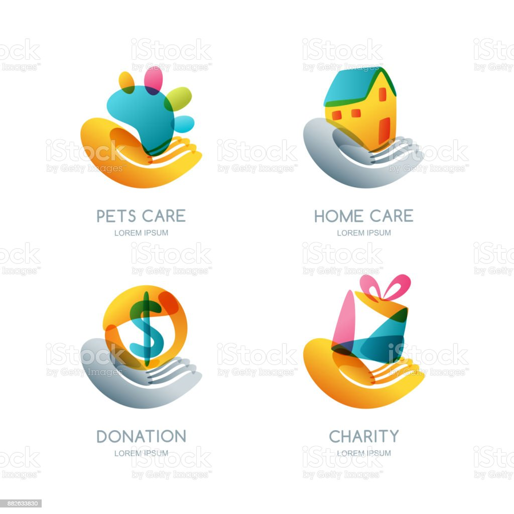 Set of charity, donation and care vector icon, emblem. Concept for voluntary humanitarian helping vector art illustration