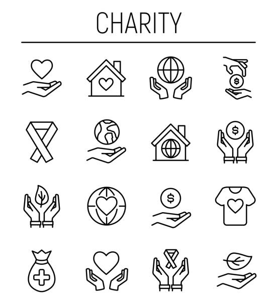 Set of charity icons in modern thin line style. Set of charity icons in modern thin line style. High quality black outline donation symbols for web site design and mobile apps. Simple charity pictograms on a white background. sheltering stock illustrations