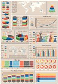 Set of charts, color infographic elements, EPS 10,contains transparency. Map from: