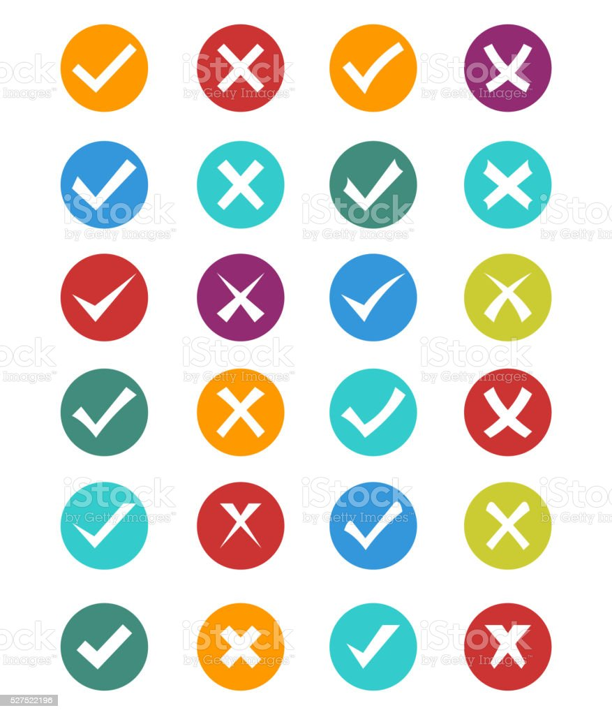 Set of check and crosses vector art illustration