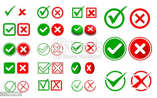 set of check mark or wrong and right sign option concept. easy to modify