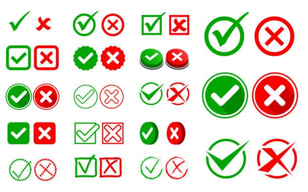 ilustrações, clipart, desenhos animados e ícones de jogo da marca de verificação ou do conceito errado e direito da opção do sinal. - em êxtase