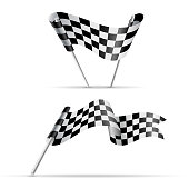 Set of two checkered flags or ribbon for racing design. Black and white sport banner. JPG include isolated path