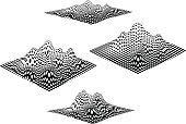 Set of 4 different Checkered, topographic mountain landscape. black and white line art, Isolated on white background.