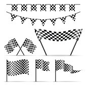 Set of checkered sport flags