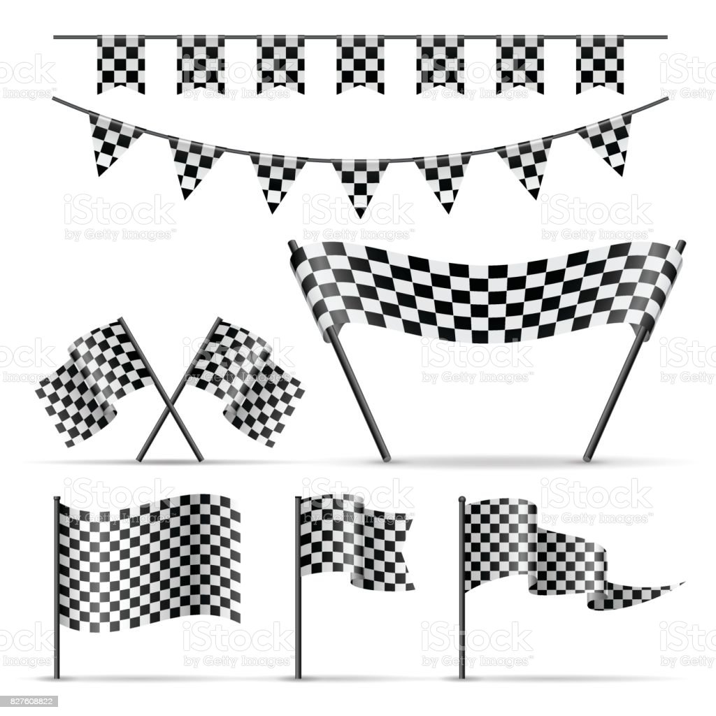 Set of checkered sport flags vector art illustration