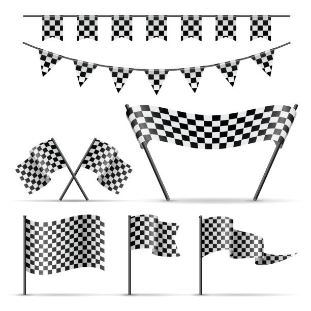 Set of checkered sport flags Set of sport checkered flags and banner on white background. Balck and white color auto racing stock illustrations